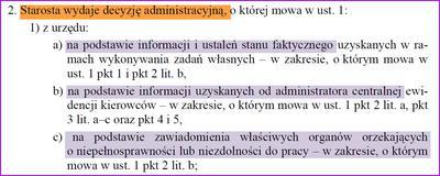 Podstawy wydania decyzji administracyjnej o skierowaniu przez Starostę