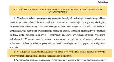 schorzenia neurologiczne a prawo jazdy zawodowe?