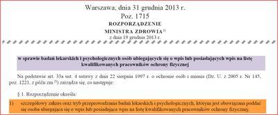 Rozporządzenie o badaniach pracowników ochrony