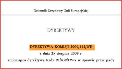 Dyrektywa 2009/112/EC dotycząca praw jazdy
