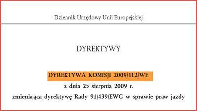 Dyrektywa unijna o prawach jazdy