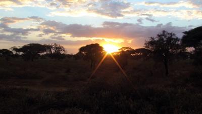Zachód słońca w Kenii