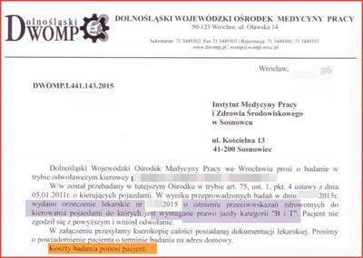 Odwołanie do Instytutu Medycyny Pracy w Sosnowcu