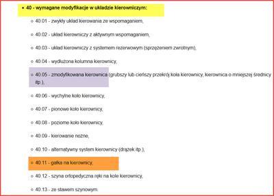Różne kody ograniczeń dla osób niepełnosprawnych
