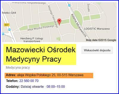 Mazowiecki Ośrodek Medycyny Pracy w Warszawie