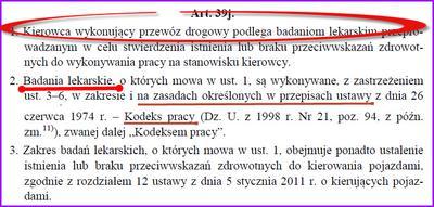 Badania kierowców zawodowych art 39j Ustawy o transporcie drogowym