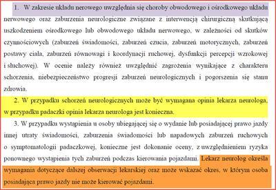 Zasady oceny schorzeń neurologiczych do prawa jazdy