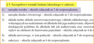 Fragment rozporządzenia ministra zdrowia o badaniu wzroku do prawka