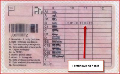 Terminowe prawo jazdy na 4 lata