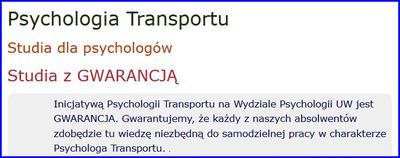 Studia podyplomowe z psychologii transportu