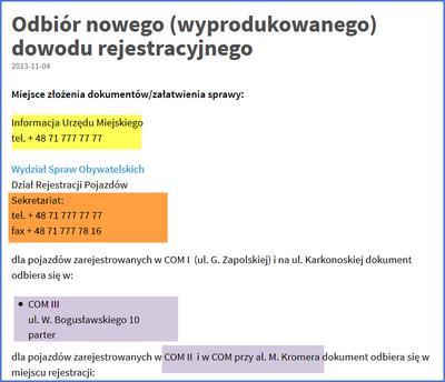 Odbiór dowodu rejestracyjnego we Wrocławiu