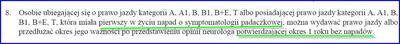 Zabranie prawka na rok po napadzie o symptomatologii padaczkowej