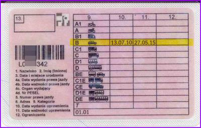 Terminowe prawo jazdy kategorii B