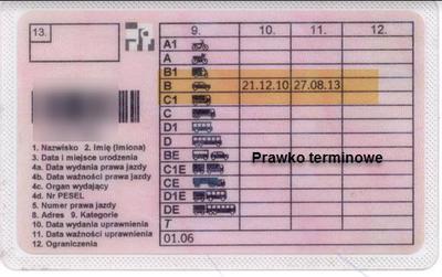 Prawo jazdy z e skróconym terminem ważności
