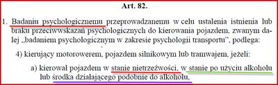 Podstawa prawna badań psychologicznych za jazdę po alkoholu