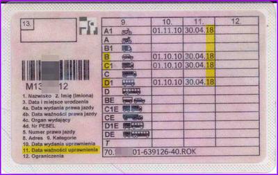 Terminowe prawo jazdy różnych kategorii