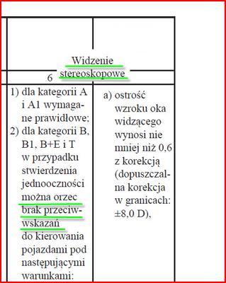 Norma widzenia stereoskopowego a kategorii B prawa jazdy
